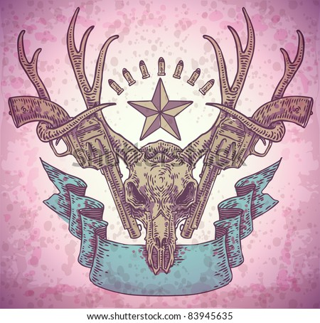vector engraved deer skull with ribbon and guns - stock vector
