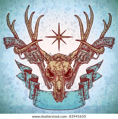 vector engraved deer skull with ribbon and guns