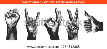 Vector engraved style hand gestures collection for posters, decoration, emblem and print. Hand drawn sketches of hand gestures isolated on white background. Detailed vintage woodcut style drawing.