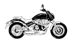 Vector engraved style illustration for posters, decoration and print. Hand drawn sketch of motorcyrcle in black isolated on white background. Detailed vintage etching style drawing.