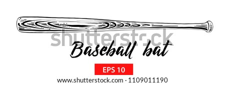 Vector engraved style illustration for posters, decoration and print. Hand drawn sketch of baseball bat in black isolated on white background. Detailed vintage etching style drawing.