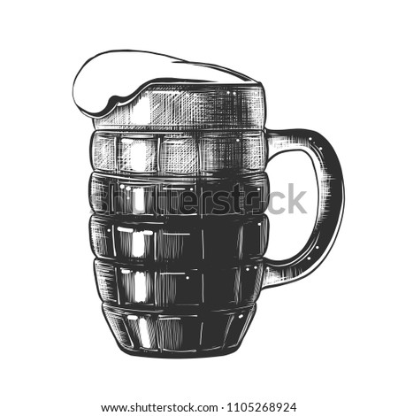 Vector engraved style illustration for posters, decoration and print. Hand drawn sketch of glass of beer in monochrome isolated on white background. Detailed vintage woodcut style drawing.