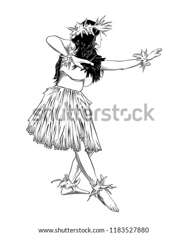 Vector engraved style illustration for posters, decoration and print. Hand drawn sketch of Hawaiian hula dancer black isolated on white background. Detailed vintage etching style drawing.