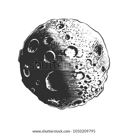 Vector engraved style illustration for posters, decoration and print. Hand drawn sketch of moon planet in monochrome isolated on white background. Detailed vintage woodcut style drawing.