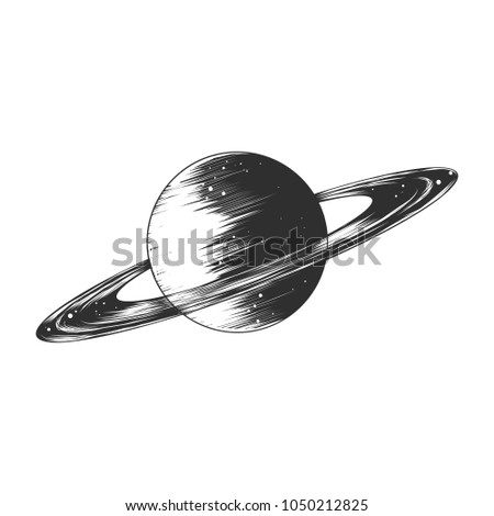 Vector engraved style illustration for posters, decoration and print. Hand drawn sketch of saturn planet in monochrome isolated on white background. Detailed vintage woodcut style drawing.