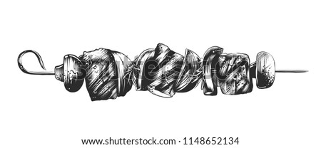 Vector engraved style illustration for posters, decoration and print. Hand drawn sketch of shashlik on the skewer in monochrome isolated on white background. Detailed vintage woodcut style drawing.