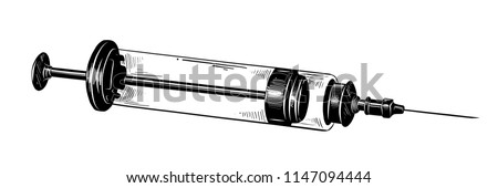 Vector engraved style illustration for posters, decoration and print. Hand drawn sketch of syringe in black isolated on white background. Detailed vintage etching style drawing.
