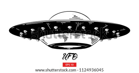 Vector engraved style illustration for posters, decoration and print. Hand drawn sketch of ufo in black isolated on white background. Detailed vintage etching style drawing.