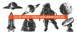 Vector engraved style space or cosmic collection for posters, decoration and print. Hand drawn sketches of in monochrome isolated on white background. Detailed vintage woodcut style drawing.