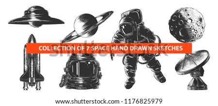 vector engraved style space or...