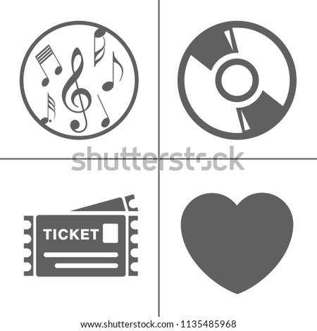 vector Entertainment icons set - multimedia, cinema, music sign symbol