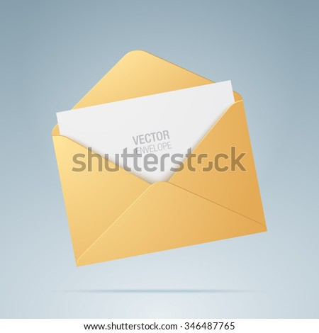 Vector envelope. Golden opened envelope isolated on a background. Realistic mockup.
