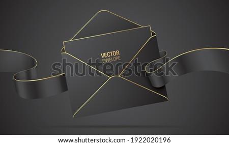 Vector envelope mockup. Black elegant envelope with golden details, waving ribbon, and a letter. Realistic envelope with celebration, greeting, or invitation card inside, isolated on a dark background