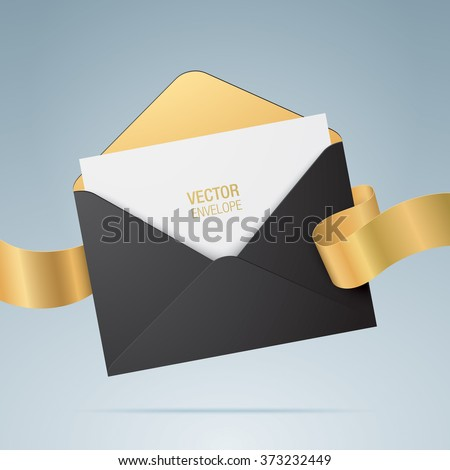 Vector envelope. Opened black envelope with invitation card and golden ribbon. Marriage invitation card design. Realistic envelope mockup.