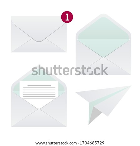 Vector envelope set. Yellow mail icon set in flat design style and paper airplane letter symbol. Foto stock ©