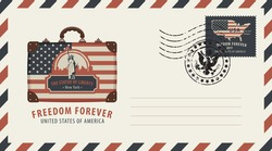 Vector envelope with a postage stamp and rubber stamp. Image of suitcase in colors of american flag with image of New York Statue of Liberty