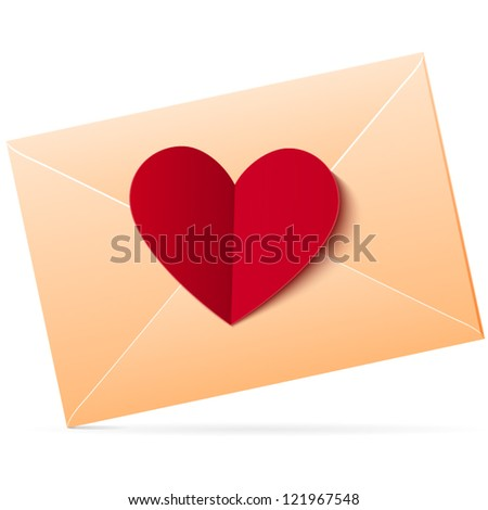 Vector envelope with red paper heart on it