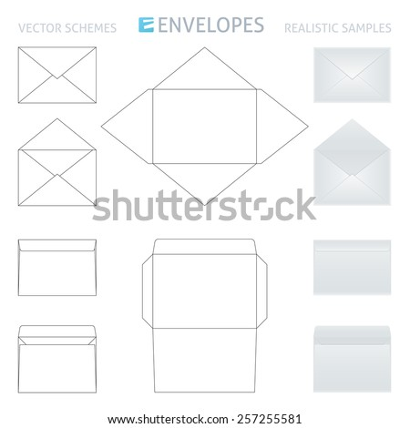 vector envelopes set, schemes and realistic samples in gray color