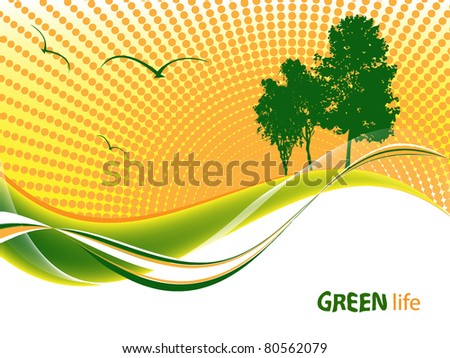 vector environmental background with trees over sunset - stock vector