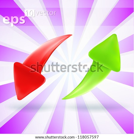 Vector eps10 arrow icon glossy green up and red down emblems