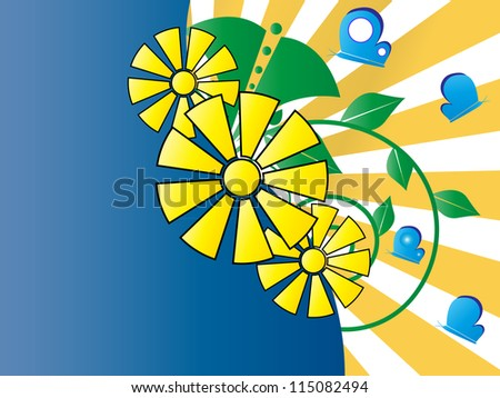 Vector Eps 10 Beautiful Unusual Creative Flowers on a Stem with Leaves Illustration