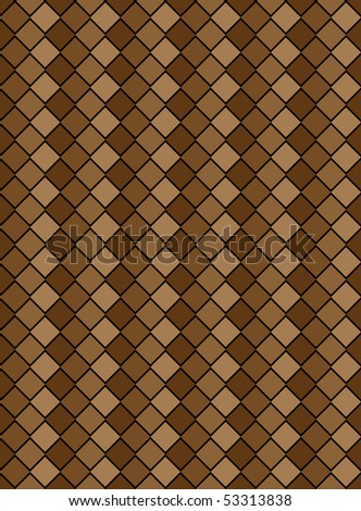 Vector eps8, brown variegated diamond snake style wallpaper texture pattern.