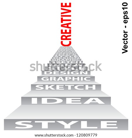 Vector eps concept or conceptual 3D stair or steps isolated on white background as metaphor for design,graphic,hand,child,young,idea,style,creative,fashion,artist,art,decor abstract project