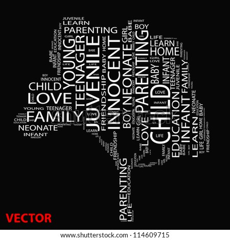 Vector eps concept or conceptual white text wordcloud or tagcloud as a tree isolated on black background as a metaphor for child,family,education,life,home,love and school learn or achievement