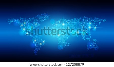 Vector EPS 10- Digital world map circuit, Globalization, Hi tech and synchronization