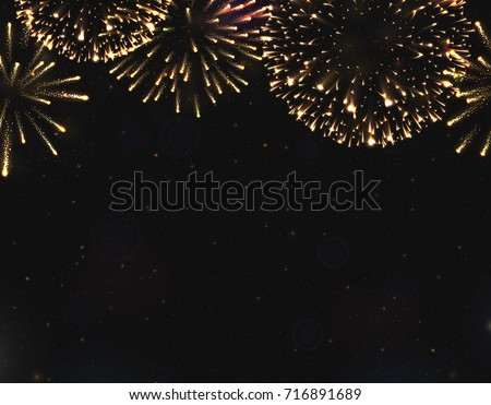 VECTOR eps 10. For 2018 New Year design! Golden Shining Fireworks with golden stars. All light effects, stars isolated and grouped. Shining elements 2018. Holiday fireworks. Red golden Firework 2018