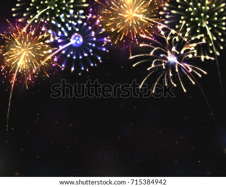 For 2018 New Year Design! Shining Fireworks With Golden Ring.
