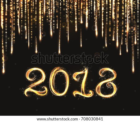 VECTOR eps 10.  Glittering rain background. 2018 New Year design! Shining light rain golden glitter effects isolated and grouped. Gold bengal fire lights brushes, lettering text number 2018 year.