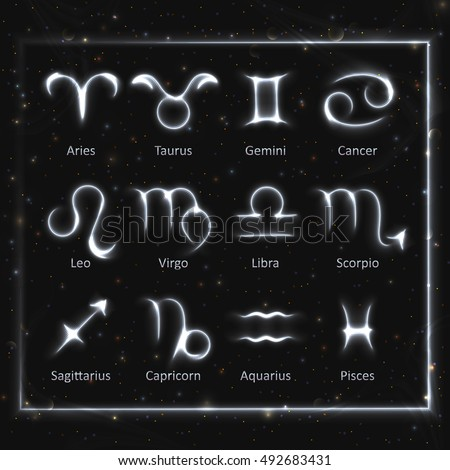 VECTOR eps 10. Glowing collection of Astrology Zodiac Signs. 12 zodiac symbols in light silver color around. Shining bright lights stars. Glowing shining 12 metallic zodiac signs. Neon white brush
