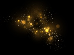 Vector eps 10 golden particles. Glowing yellow bokeh circles abstract gold luxury background