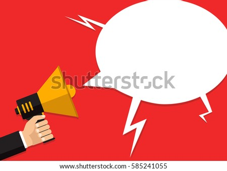 Vector, eps10, illustration. Hand holding a megaphone, flat design, promotion, social media marketing concept. Isolated on a background.