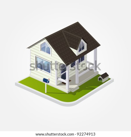 Vector eps 10 illustration of white cozy country wooden American house with a dog kennel and a mailbox on white background for real estate brochures or web