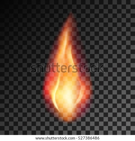 Stock Photo Vector eps 10 isolated transparent effect of realistic flame. Fire illustration, candle light, burning, hot, devouring element, bonfire, twinkle, combustion. torch, match