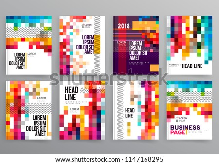 Vector EPS 10. Mock up of 8 main pages. Magazine or book design. Branding identity design. Modern business brochure, banner, page, flyer, magazine, cover book template.