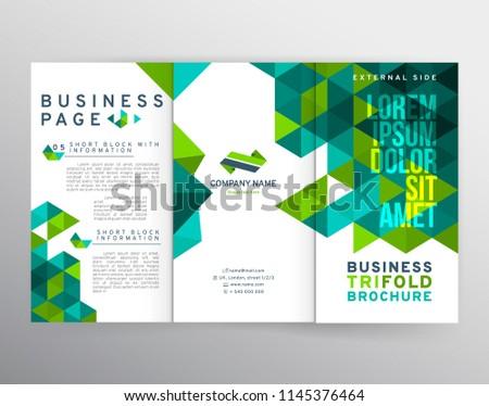 Vector EPS 10. Mock up of tri-fold brochure. Branding identity design.