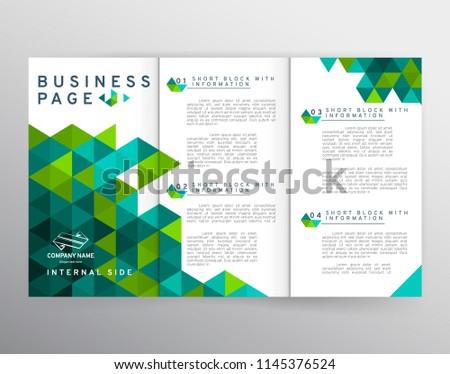 Vector EPS 10. Mock up of tri-fold brochure . Branding identity design.