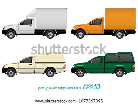 VECTOR EPS10 - set of pickup truck single cab in different body parts, isolated on white background.