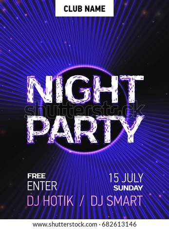 VECTOR eps 10. Shining poster for Disco placard, show bill. Abstract glowing background for night club. Shining glowing neon lines place your text. Night Party poster. Black blue color background 2018 #682613146