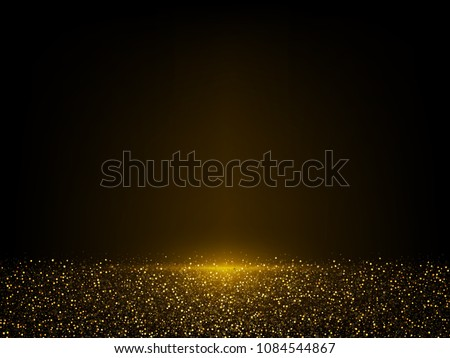 Vector eps 10 shiny golden glitter dust. Sparkling glittery background decoration