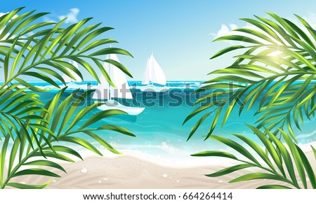 VECTOR eps 10. Summer vacation on island. Travel summer time! Sun, sea, palm, clouds island, sand, , yacht, boat  beach island palm branches, coconut leaves, journey on sea, summertime lagoon, ocean,