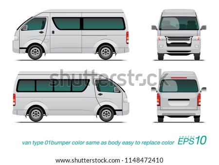 """VECTOR EPS 10 - template van side view, rear and back, isolated on white background. easy to edit color in layer name """"body color""""."""