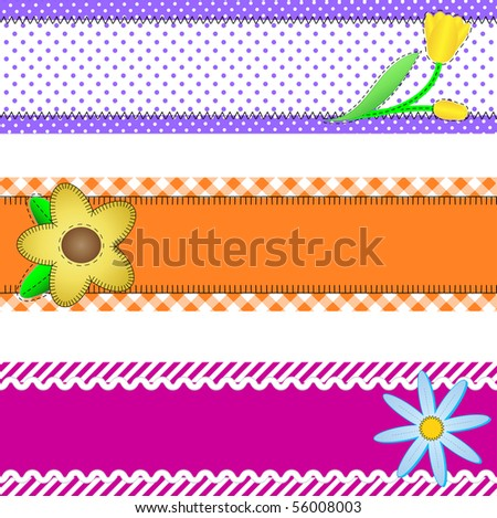 Vector eps10.  Three banners or borders of stripes, polka dots, or gingham with flowers, accent quilt stitches and plenty of copy space.