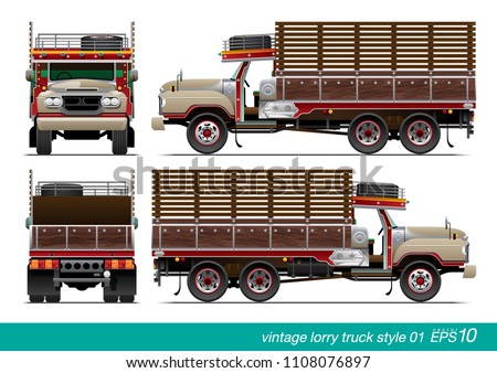 VECTOR EPS10 - vintage lorry truck long head style, thai truck, side view front and rear, isolated on white background.