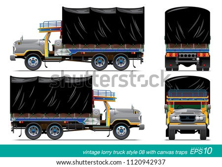 VECTOR EPS10 - vintage lorry truck long head style with canvas traps cover, thai truck, side view front and rear, isolated on white background.