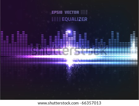 Vector equalizer design. Contains bright lights and blurry circle particles on dark background, colored violet and blue.