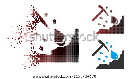 Vector Ethereum mining hammer icon in dispersed, pixelated halftone and undamaged solid variants. Disintegration effect uses rectangular dots and horizontal gradient from red to black.